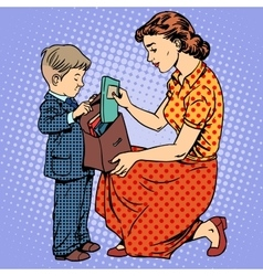 Mother help child come to school vector