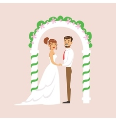 Newlyweds Standing At The Arch Of The Altar At The vector image