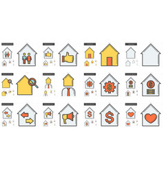 real estate line icon set vector image