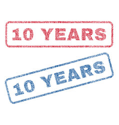 10 years textile stamps vector image