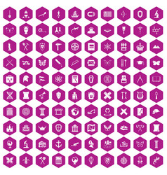 100 archeology icons hexagon violet vector