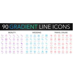120 trendy gradient thin line icons set of vector