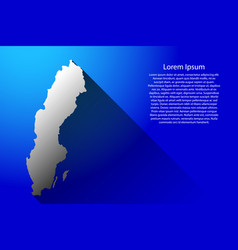 abstract map of sweden with long shadow on blue vector image