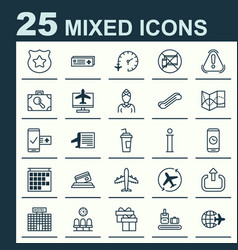 airport icons set collection of travel clock vector image