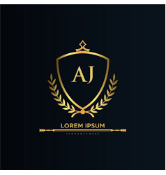Aj letter initial with royal templateelegant vector