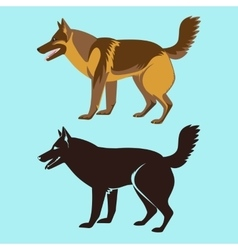 Alsatian Dog Silhouette Isolated German Sheepdog vector