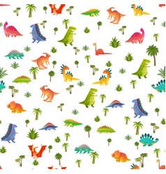 Baby dino seamless pattern animal dragon vector