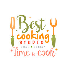 Best cooking studio time to cook logo design vector