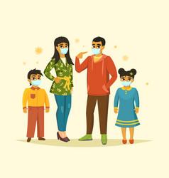 Big family wearing surgical mask coronavirus vector