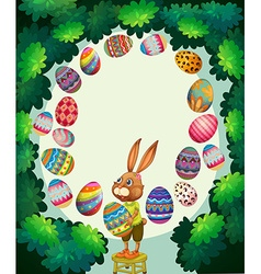 Border design with bunny and easter eggs vector