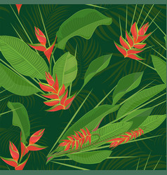 branch tropical heliconia flower leaves seamless vector image
