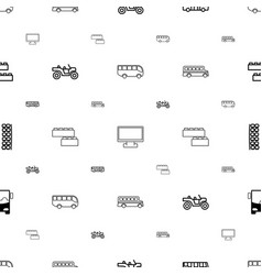 Bus icons pattern seamless white background vector