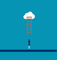 Business person under ladder concept vector