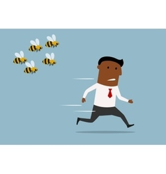 Cartoon businessman running away from bees vector image