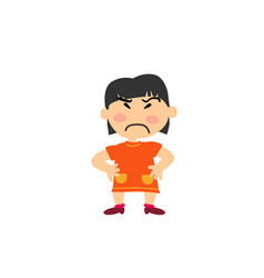 Cartoon character of a serious asian girl vector
