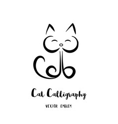 cat calligraphy emblem vector image
