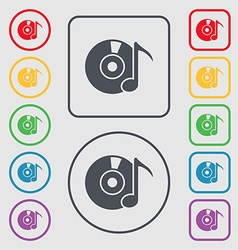 CD or DVD icon sign Symbols on the Round and vector image