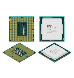 central processing unit or cpu in flat vector image