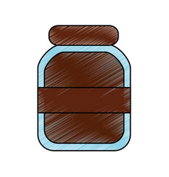 Chocolate paste packaging cream in a glass bottle vector