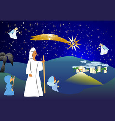 Christmas background with angels vector