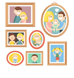 Collection of cartoon family photos in frame vector