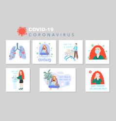 coronavirus quarantine motivational posters set vector image