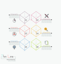 creative infographic design template 6 numbered vector image