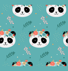cute panda heads with flower crown vector image