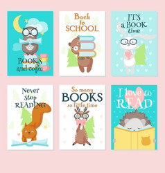 Cute wild animals reading books card set vector
