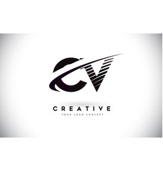 Cv c v letter logo design with swoosh and black vector