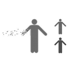 Decomposed pixel halftone ignorance pose icon vector