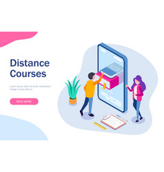 distance courses isometric concept online library vector image