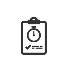 Document witch clock icon in flat style checklist vector