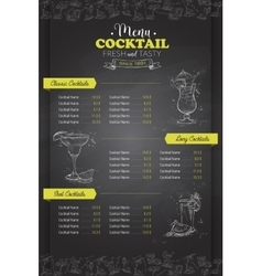 Drawing vertical cocktail menu design vector