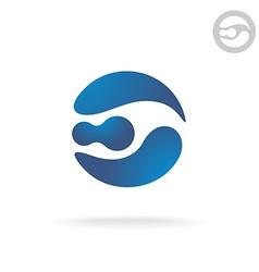 E letter globe logo template Robot head vector image