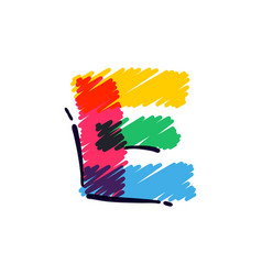 E letter logo hand drawn with a colored pencils vector