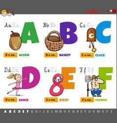 educational cartoon alphabet letters for children vector image