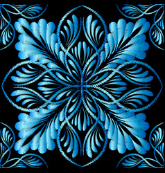 Embroidery blue floral seamless pattern tapestry vector