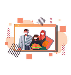 family in masks celebrating happy thanksgiving day vector image