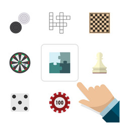Flat icon play set of jigsaw pawn arrow and vector