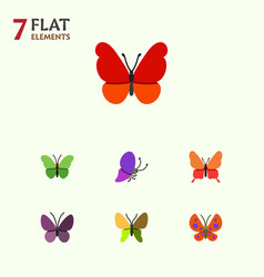 Flat moth set of milkweed moth monarch and other vector