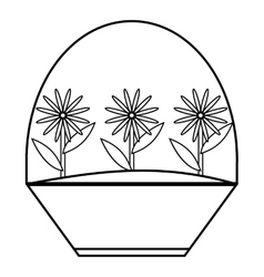 Flowers icon outline style vector image