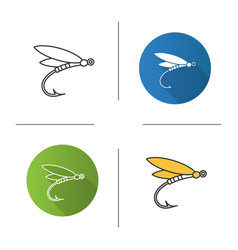 Fly fishing icon vector