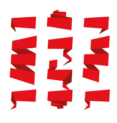 folded ribbon banner set collection red label vector image