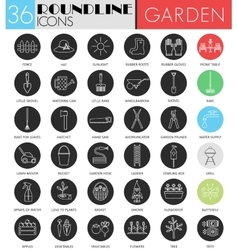 Garden tools circle white black icon set vector