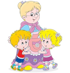 Granny and her grandchildren vector image