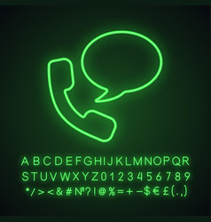 handset with speech bubble neon light icon vector image