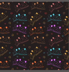 happy birthday pattern background with dark color vector image