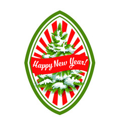 Happy new year christmas tree icon vector