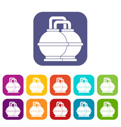 Industrial tanks for petrol and oil icons set flat vector